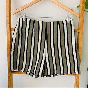 Fly Girl Green Cream Black Striped Mini Shorts